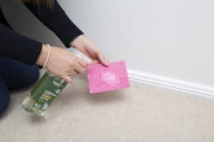 cleaning skirtings boards with spray cleaner step 1